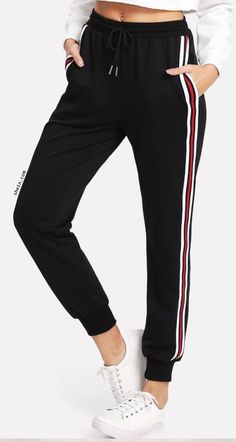 SweatyRocks Women's Drawstring Waist Striped Side Jogger Sweatpants with Pockets, Black Small Sport Fashion, Teen Fashion, Korean Fashion, Fashion Outfits, Fashion Women, Mod Fashion, Winter Fashion, Sporty Outfits, Mode Outfits
