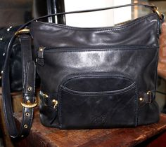 Stone Mountain Black Leather Shoulder Handbag Women Purse #StoneMountain #ShoulderBag