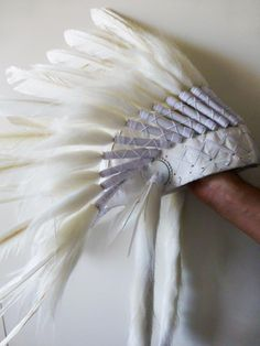 Indian White Feather Headdress by THEWORLDOFFEATHERS on Etsy, $80.00