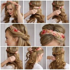 How to Wear Head Scarf - All For Fashions - fashion, beauty, diy, crafts, alternative health Pigtail Hairstyles, Bandana Hairstyles, Summer Hairstyles, Easy Hairstyles, Style Hairstyle, Wedding Hairstyles, Hair Scarf Styles, Curly Hair Styles, Cabelo Pin Up