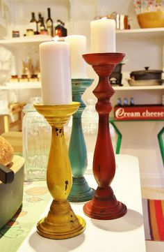 candlestick colors ~ use ugly brass ones