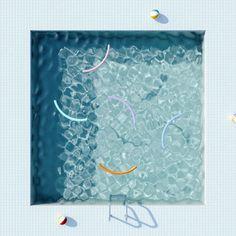 'Swimming pool geometric design and minimal shapes illustration' by animateastory Visual Diary, Blue Aesthetic, Birds Eye View, Art Direction, Creative Design, Illustration Art, Images, Fine Art, Beautiful
