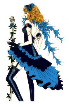 "Ai wearing blue & black gothic lolita style dress with tiered flounces from ""Princess Ai"" series by manga artist Ai Yazawa."