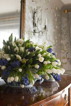 blue and white flowers from Heather Christo Cooks