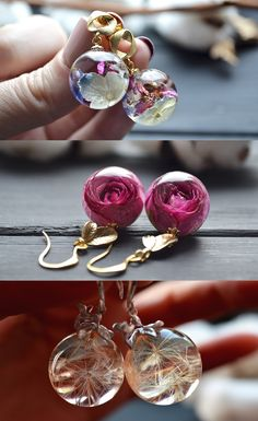 Dangle earrings. Resin, epoxy resin, resin art, resin crafts, resin ideas, craft ideas, handmade craft, handmade ideas, jewelry, handmade jewelry, resin jewelry, flower jwelry, terrarium jewelry, mushroom art, necklace, earrings, earrings handmade, dior, nature, roses, dandelion, christmas gifts, gifts for girlfriend, gifts for her, craft ideas, gift ideas.