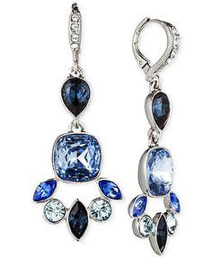 Givenchy Rhodium-Plated Blue Multi Medium Drop Earrings
