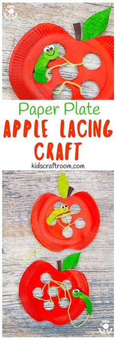 This Paper Plate Apple Lacing Craft is adorable with the cutest worm for kids to thread in and out! A fabulous interactive apple craft and fun way to build fine motor skills. A simple Fall craft for kids that s fun and educational. via KidsCraftRoom Kids Crafts, Frog Crafts, Leaf Crafts, Paper Plate Crafts, Fall Crafts For Kids, Preschool Crafts, Paper Plates, Craft Kids, Apple Crafts For Preschoolers