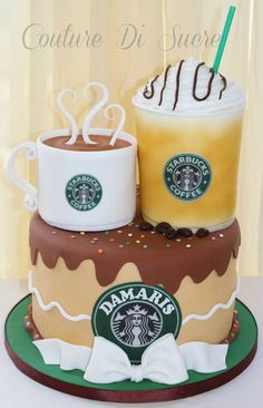 Starbucks cake by janell Crazy Cakes, Fancy Cakes, Pretty Cakes, Cute Cakes, Yummy Cakes, Unique Cakes, Creative Cakes, Fondant Cakes, Cupcake Cakes