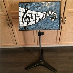 Mosaic music stand by Laura Sinkins - Glass Needle Works