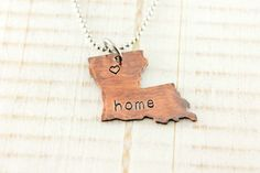 Home is where the heart is, home necklace, Louisiana, hand stamped copper