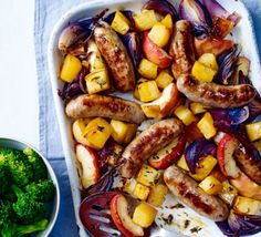Forget boring bangers and mash, this seasonal traybake with roasted red onions, apples and swede is much more colourful, and just as easy to prepare Sausage Tray Bake, How To Cook Sausage, Tray Bake Recipes, Sausage Recipes, Pork Recipes, Recipies, Bbc Good Food Recipes, Cooking Recipes, Healthy Recipes