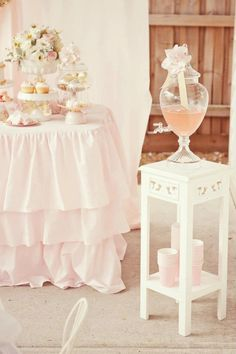 Little Big Company: pink and gold desserts - drink table by Avie & Lulu