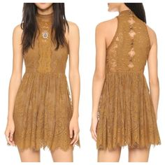 New With Tags Free People Verushka Mini Dress 4 New Free People Verushka Mini Dress, Size 4, Color Golden Honey.                                                Delicate lace sleeveless mini dress featuring a nick neck & scalloped, eyelash lace trim. Sheet lace panel down the front bodice and button down detailing in back, with keyhole openings. Free People Dresses