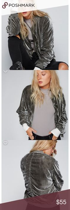 NWT Free People Ruched Velvet Bomber Jacket New with tags! Size Small. Retail $148. Free People Jackets & Coats