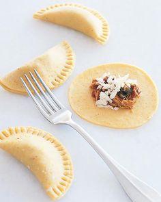 Empanada Dough - 2 C. flour, 3/4 C fine cormeal, 2 tsp sugar, 1/2 tsp salt, 3 Tbsp butter, 2 egg yolks