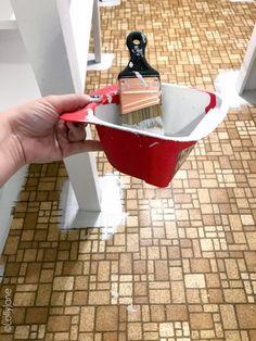 how to paint stencil floors on ANY floor type: linoleum, ceramic tile, porclain tile, vinyl, hardwood floors and more! Linoleum Flooring, Brick Flooring, Types Of Flooring, Kitchen Flooring, Plywood Subfloor, Diy Flooring, Bathroom Flooring, Painted Bathroom Floors, Painted Wood Floors