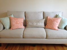 Pillows and couch.