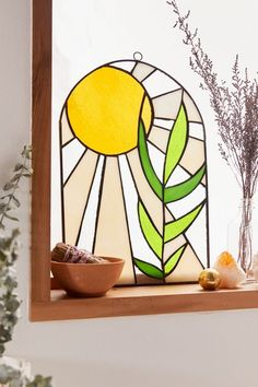 Shop Sunrays Stained Glass Wall Hanging at Urban Outfitters today. Stained Glass Panels, Stained Glass Designs, Stained Glass Projects, Stained Glass Patterns, Stained Glass Art, Mosaic Glass, Mosaic Mirrors, Mosaic Art, Mosaics