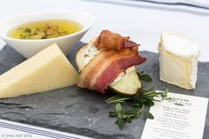 Cheese course with bacon wrapped seckle pear Bacon Wrapped, Camembert Cheese, Pear, Catering, Spices, Life, Food, Spice, Meals