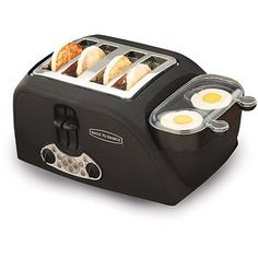 toaster oven with egg cooker on the side. my fav breakfast at a fast pace? yes please!