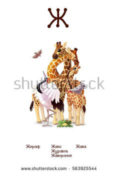 Russian Alphabet (all 33 letters) (Cyrillic, Slavic language) series of Amusing Animals. Educational pictures. Animals, plants and objects for letter 8: giraffe, African Greys, crane, bird, toad Russian Alphabet, Crane Bird, Animal Alphabet, Toad, Gifts For Kids, Giraffe, Objects, Language, African