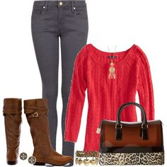 """""""Sweater, Jeans & Boots"""" by nancyell on Polyvore"""