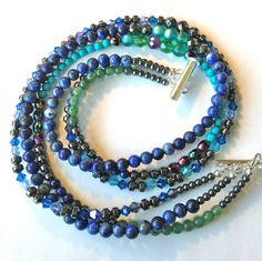 Lapis Lazuli Multi Strand Blue Necklace by ZhiJewelry on Etsy, $40.00