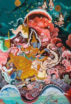 Thai Buddhist mural - Stock Photo - Images