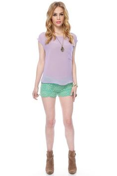 36 Point 5 Crochet Pull-On Shorts in 'mint' $40