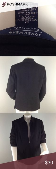 JonesWear Essentials SZ 12 Zip Front Jacket Joneswear Essentials Black Careerwear Jacket.  Size 12 100% polyester 100% polyester lining made in Vietnam dryclean only.  it has shoulder pads side pockets currently stitched closed but fully functional.  Bust 43 inches  waist 38 inches  Sleeve length 23.5 inches Jones New York Jackets & Coats Blazers