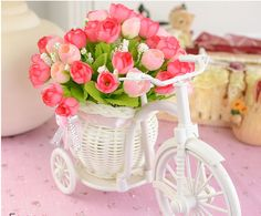 Cheap basket bread, Buy Quality basket lining directly from China pot vase Suppliers: Wedding Party Decoration White Plastic Tricycle Bike Flower Pot Container Flower Basket DIY Artificial Flowers Decorative Pots Cheap Baskets, Storage Baskets, Storage Containers, Home Wedding Decorations, Flower Decorations, Flower Basket, Flower Pots, Flower Holder, Decorating With Pictures