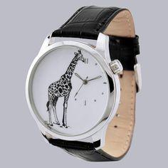 Giraffe Watch B/W by SandMwatch on Etsy