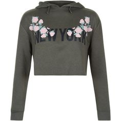 New Look Teens Floral New York Cropped Hoodie ($20) ❤ liked on Polyvore featuring tops, hoodies, khaki, floral print tops, floral hoodies, flower print tops, cut-out crop tops and cropped hooded sweatshirt