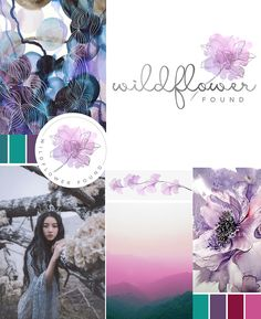 wildflower logo, purple, teal, red, pink, palette, asian, logo, design, watercolor, mountain, flower, lotus, lily