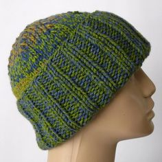Blue green mustard tweed striped slouchy hat watch cap brimmed beanie hat  in an acrylic  7aaf1538a41e