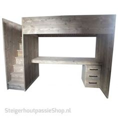 Steigerhouten Hoogslaper Luuk Tiny House Design, Corner Desk, Loft, Bed, Furniture, Image, Home Decor, Ideas, Corner Table