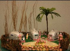 Flamingo Court, a retirement trailer park in a dolls house scale, exhibited by Bev Lowder at the Spring 2008 Seattle Dollhouse Miniature Show.  airstream