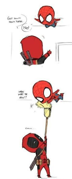 lol cute spidey and deadpool comic X3