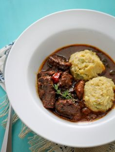 Cou cou, also known as fungi is Barbados' national dish. This savory cornmeal dish is best served with this Caribbean style Brown Stewed Beef.