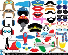 Airplanes and Pilots Props Set Clipart - Digital Clip Art Graphics Personal , Commercial Use - 178 images (00179)