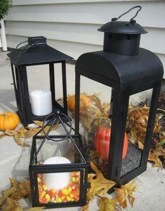 Schwarze Laternen-Set 3er-Kürbisse Kerzendeko-für Außen