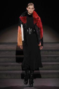 Gigi Hadid walking the runway for Tom Ford during New York Fashion Week
