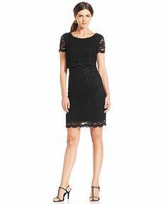 London Times Short-Sleeve Lace Dress - Dresses - Women - Macy's