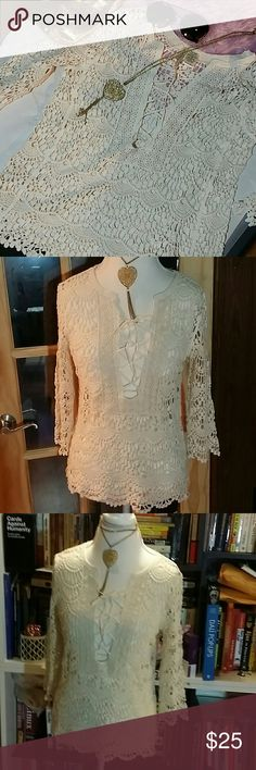 """Just in 💋Cream lace tie top nwt sz s Cream lace tie top nwt sz s. Armpit to armpit 19"""". Brand: Forgotten Grace. forgotten grace Tops Blouses"""