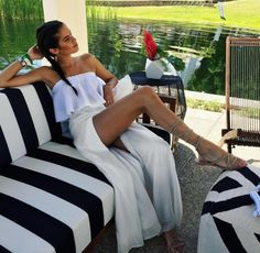 Sara Sampaio wearing the Faithfull The Brand Suns Out Top in White