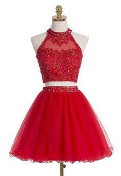 Sleeveless prom dress,Cute Homecoming Dress,Two-Pieces Homecoming Dress,Beading Graduation Dress, Appliques Short Prom Dress