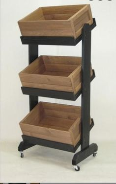 These wooden display crates are made of solid pine with black painted finish for a rustic look. These wooden display crates include casters for easy mobility. Produce Displays, Craft Show Displays, Store Displays, Ikea Furniture, Pallet Furniture, Furniture Market, Furniture Removal, Rustic Furniture, Luxury Furniture