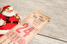 Vintage Yankee Stadium Subway Santa Ticket by VintageInkPrints