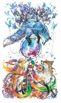 Image of the dream catcher (butterfox) fox art, amazing art, amazing drawin Amazing Drawings, Colorful Drawings, Cute Drawings, Amazing Artwork, Fuchs Tattoo, Fox Art, Animal Drawings, Painting & Drawing, Watercolor Art