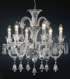 crystal chandelier | Bohemian cut crystal chandelier with cut crystal trimmings and bells